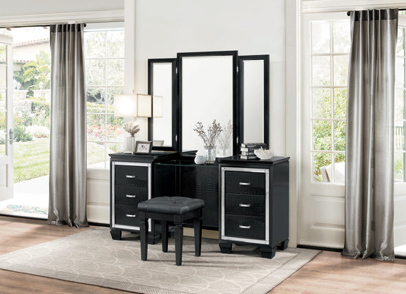 1916BK-1514 VANITY & STOOL Black