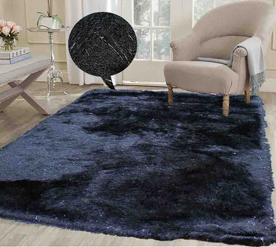 Fluffy furry soft Rug (Harmony Black)