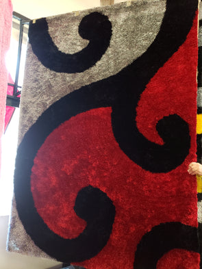 Shaggy Area Rug Red Black TD410-B1