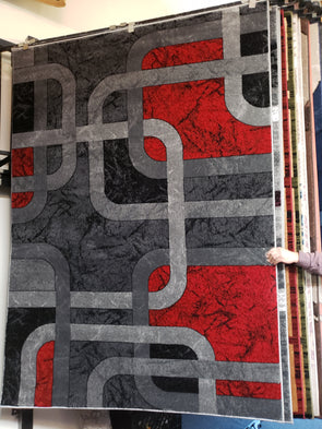 Empire Area Rug Red Grey