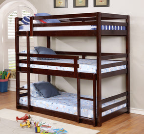 Dallas Triple Bunk Bed Espresso Color