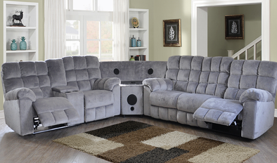 7702 Java Gray 3pc Sectional with Bluetooth Speakers