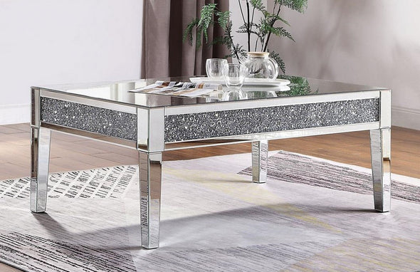 81415 Noralie Coffe Table Mirrored, Faux Diamonds