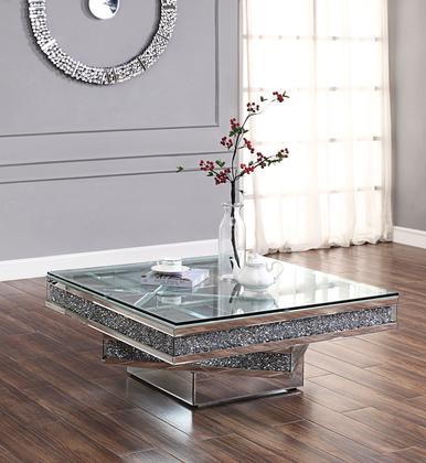 81465 Noralie Coffee Table Mirrored, Faux Diamonds