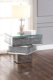 81467 Noralie End Table Mirrored, Faux Diamonds