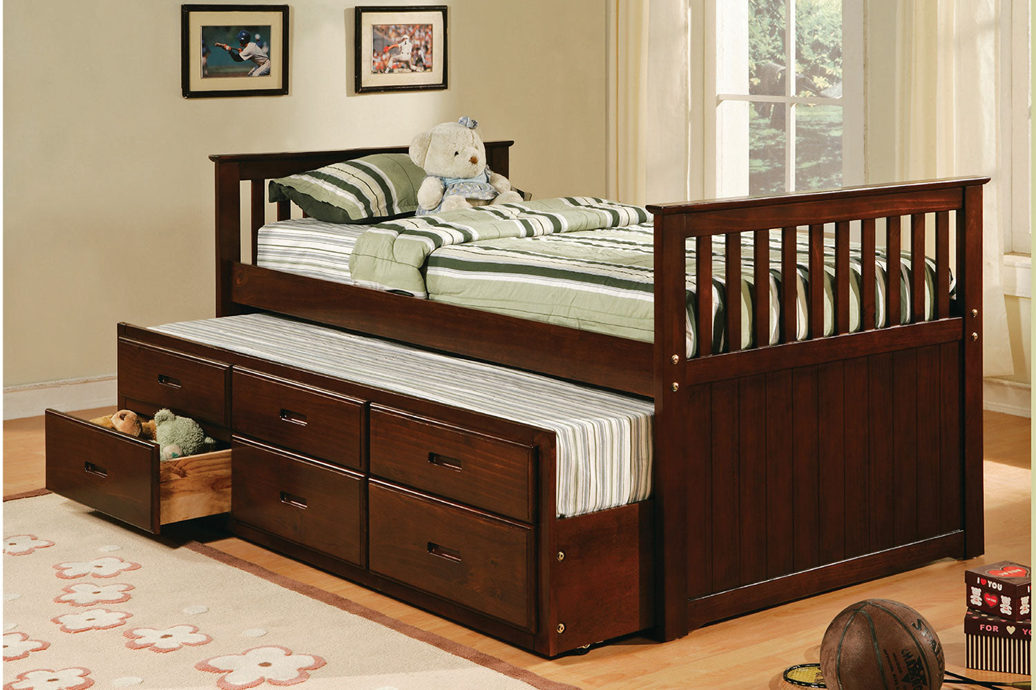 8420 Twin Captain Bed With Trundle Espresso Rubin Furniture