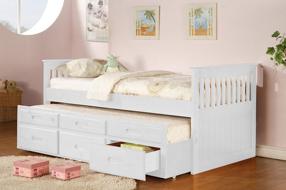 8420 Twin Captain Bed with Trundle - White