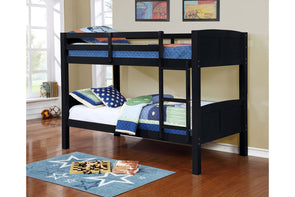 8431 Twin / Twin Convertible Wooden Bunk Bed -Black