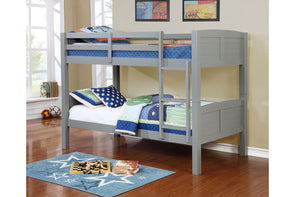 8431 Twin / Twin Convertible Wooden Bunk Bed -Grey