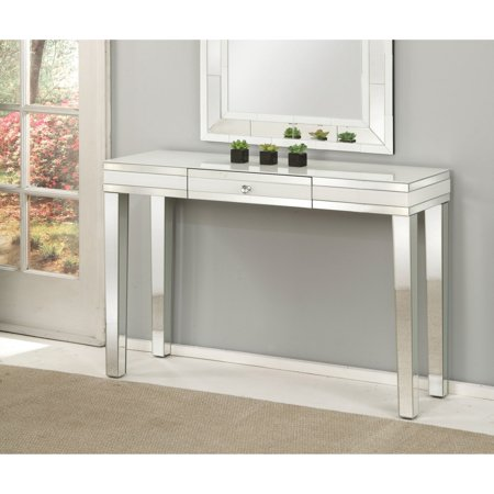 90252 Nerissa Console Table, Mirrored top w/ frosted trim