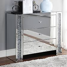 97642 Noralie Console Table Cabinet, Faux diamonds