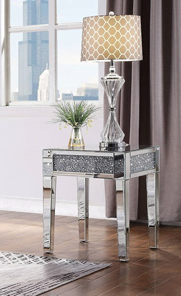 81417 Noralie Coffee Table Mirrored, Faux Diamonds