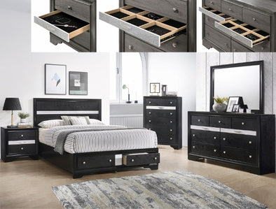 B4670  Regata collection Black finish wood bedroom set with footboard drawers