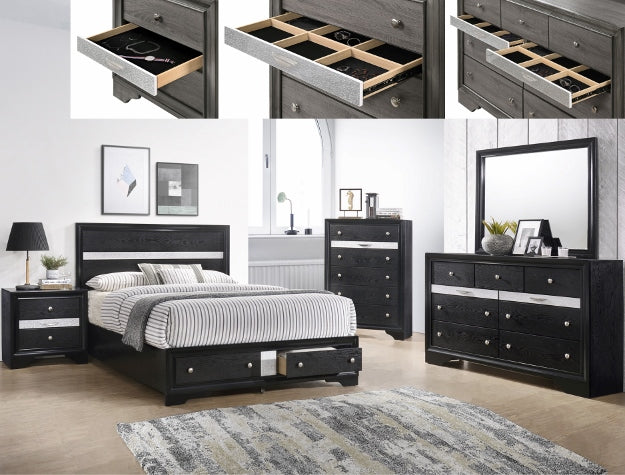 B4670 Regata collection Black finish wood bedroom set with footboard  drawers -