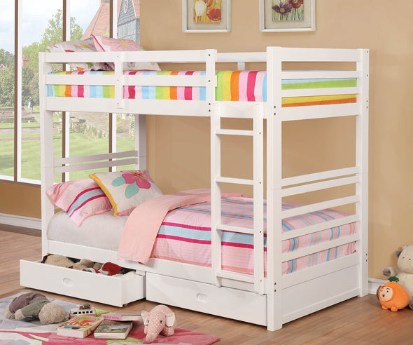 CALIFORNIA IV TWIN/TWIN BUNK BED     |     CM-BK588T-WH