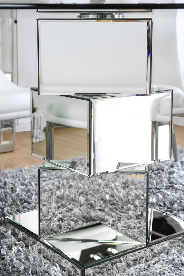 IZZY DINING TABLE  White   |     CM3384RT Mirror Base
