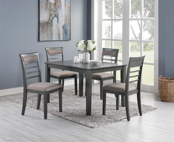 F2556 5 pc Hester elenaor gray dining table set