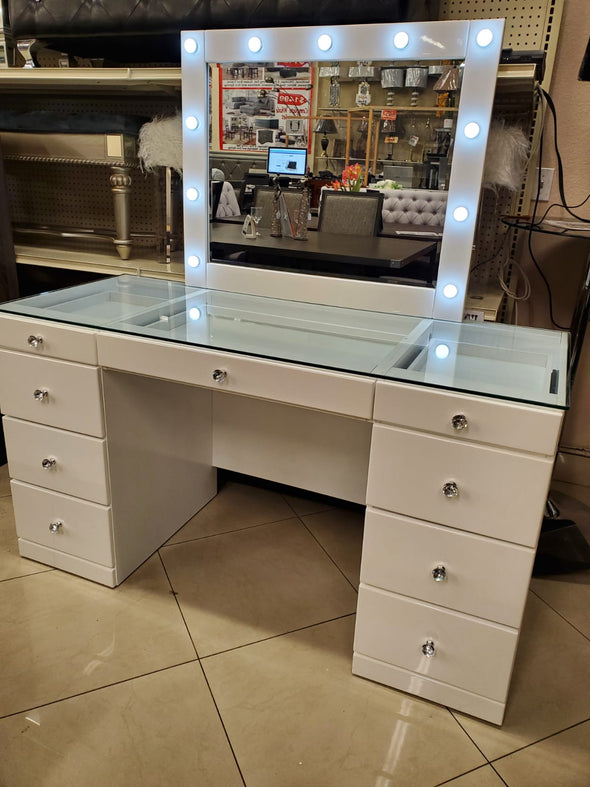 B4850WH VANITY WITH GLASS TOP AND LED MIRROR