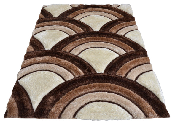 Shaggy 3D Area Rug Brown Beige