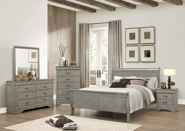 B3500 Louis Philip Modern Grey Finish Bedroom Set