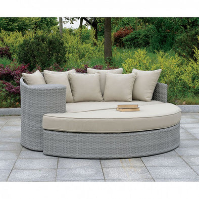 CALIO ROUND PATIO SOFA & OTTOMAN     |     CM-OS1844GY