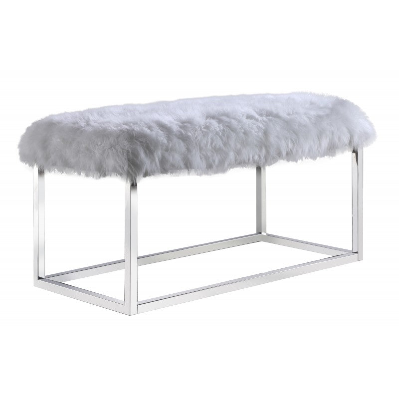 Pleasing Ac821 Fur Bench White Squirreltailoven Fun Painted Chair Ideas Images Squirreltailovenorg