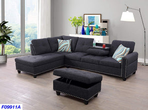 Sectional 3pcs with ottoman F09911