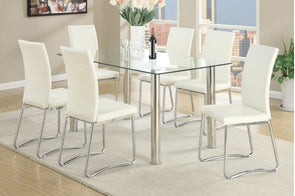 7 Pcs Dining Set F2204 white