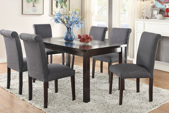 7 Pcs Dining Set F2366 Blue Grey