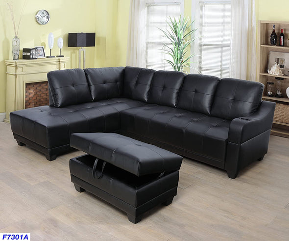 Sectional 3pcs with ottoman F7301