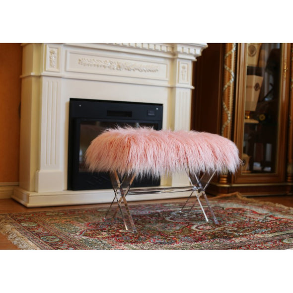 AC719 FUR BENCH Pink