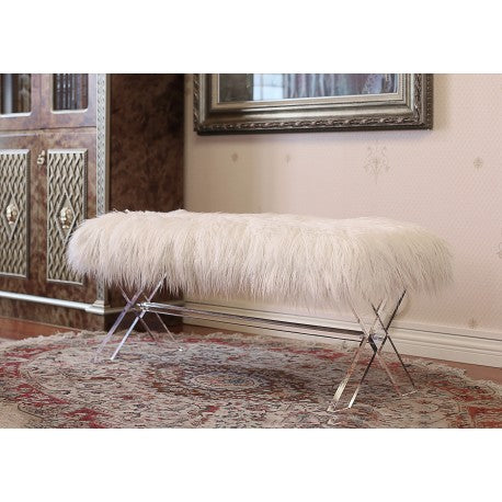 Remarkable Ac720 Fur Bench White Squirreltailoven Fun Painted Chair Ideas Images Squirreltailovenorg