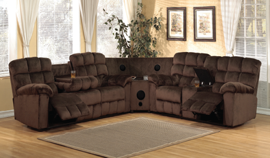7702 Java Chocolate 3pc Sectional with Bluetooth Speakers