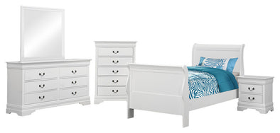Louis Philip Modern White Twin Bedroom Set