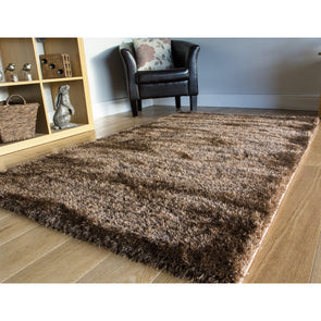 Furry Area Rug Chocolate Brown
