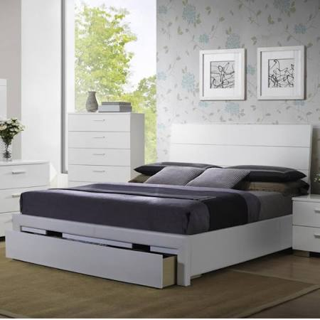 F9284 White Wood Bed with Storage