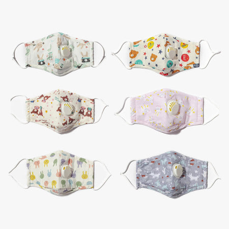 Cotton Reusable Face Mask + Two Filters - Cute Animals Assorted - Style: 960