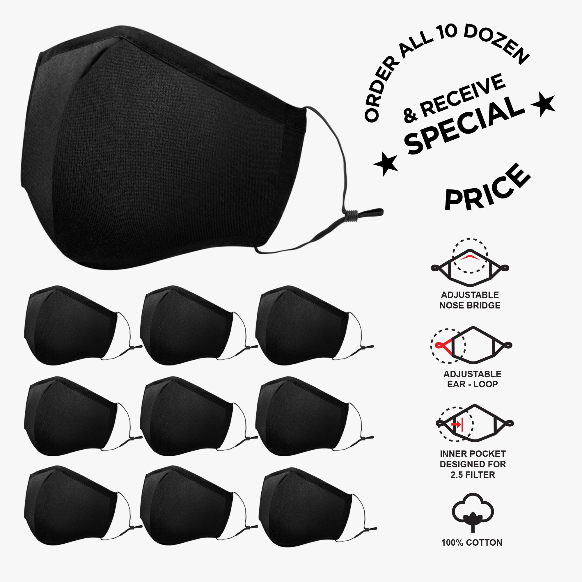 Cotton Reusable Adults Masks - Solid Black Combo - Style: 962