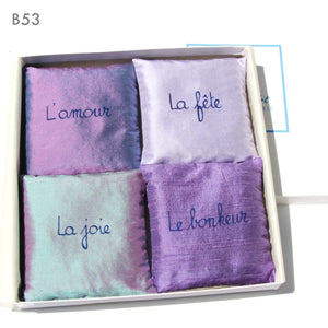 4 silk lavender sachets available in 5 color sets