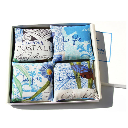 4 printed cotton lavender sachets.