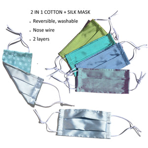 2 layers Dupioni silk mask available in 8 colors