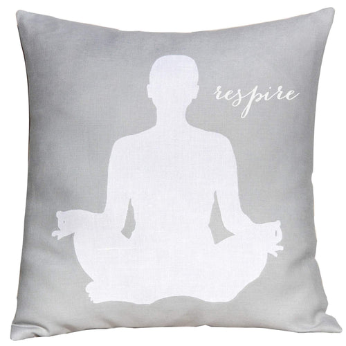 Square grey linen pillow Linen yoga applique