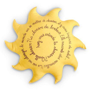 Sun shaped yellow pillow Available in linen or silk