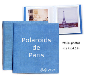 Custom square photo album. In 15 linen colors