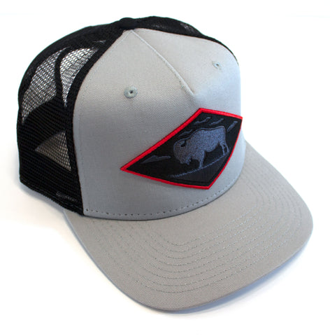 LIMITED EDITION Red Diamond Gray Vintage Trucker — High Profile 5-Panel