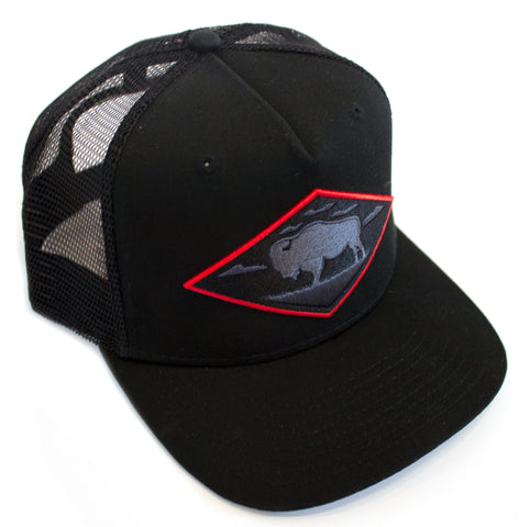 LIMITED EDITION Red Diamond Black Vintage Trucker — High Profile 5-Panel