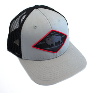 Red Diamond Gray Vintage Trucker — Mid Profile 6-Panel
