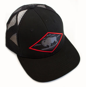 Red Diamond Black Vintage Trucker — Mid Profile 6-Panel