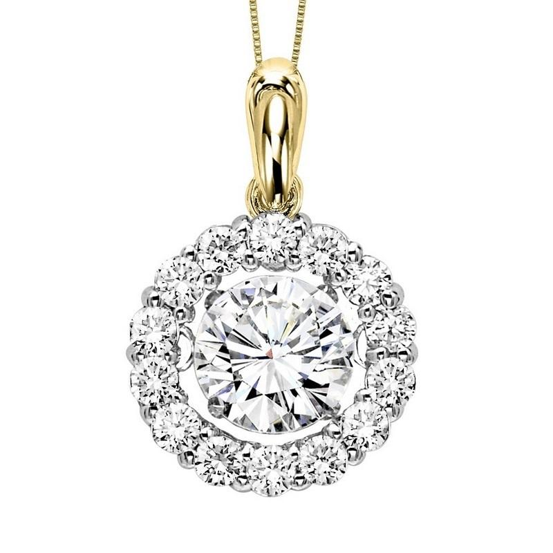 14Kt Diamond Rhythm Of Love Pendant 2 1/2 ctw (2ct ctr)