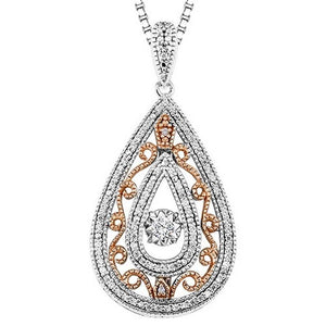 10KP & Silver Diamond Rhythm Of Love Pendant 1/4 ctw